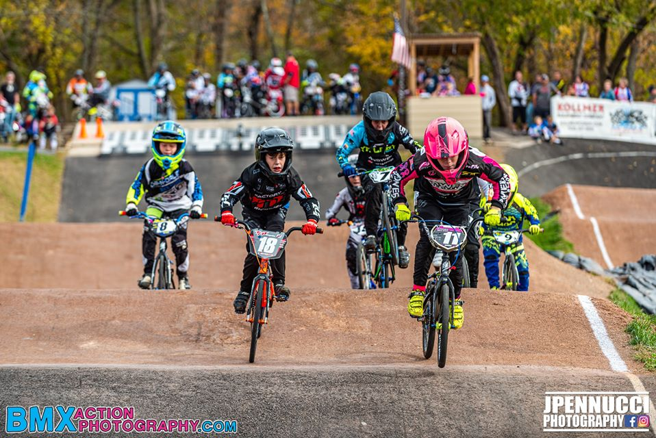 Riders competing in a BMX race